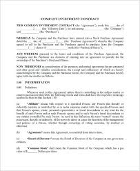 Investor Agreement Template Beautiful Contract Investment Doc