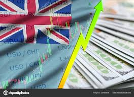 Tuvalu Flag And Chart Growing Us Dollar Position With A Fan