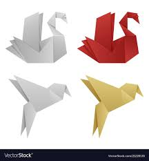 Japanese Origami Birds Royalty Free Vector Image