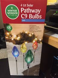 Winter Wonder Lane 4 Lit Solar Pathway C9 Bulbs Led Multi Colors Outdoor Only