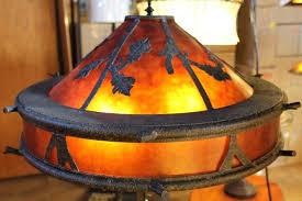 mica shade floor lamp large bronze oak river arc dark rust