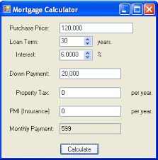 Calculate A Mortgage Loan Mortgage Calculator In C And Net