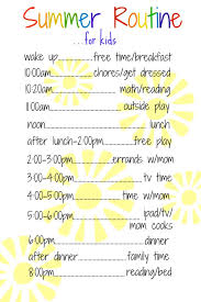Daily Routine Chart A Daily Routine For Kids Over The Summer Purely Easy