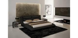 Wave Leather Black Tone Platform Bed JM Furniture