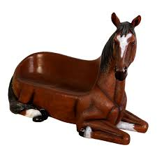 lying brown resin horse bench statue