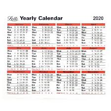 Letts Yearly Calendar 2020 210 X 260mm Freestanding Or Wall Hanging 20 Tyc