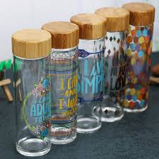 vintage glass bottle with bamboo lid sealed sports water bottle beautiful painting for travel creative gift 600ml ping water bottles water