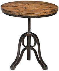 magnussen cranfill aged pine round accent table