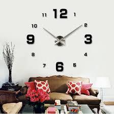 large diy quartz 3d wall clock acrylic sticker wall clock black