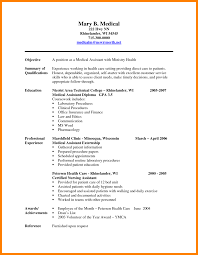 Resume For Medical Assistant Externship Objective Statement In Resume Medical Assistant New Hope Stream 17