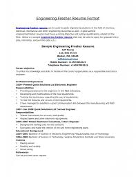 Resume Format For Fresher Mechanical Engineer It Resume Cover