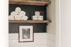 Decorating Shelves Above The Toilet by The Wood Grain Cottage