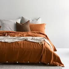 bed rust linen linen duvet covers