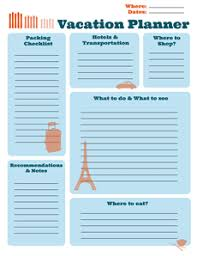 Free Printable Vacation Planner Creative Center