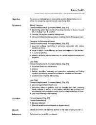 Resume Template With Objective Caregiver Professional Resume Templates Free Sample Caregiver