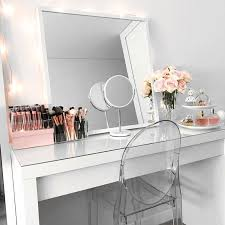clean bright and white vanity organized makeup storage ideas