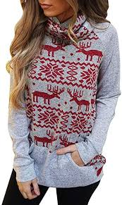 LODDD Merry <b>Christmas</b> Women Tops Turtleneck <b>Snowflake Elk</b> ...