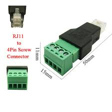 aliexpress com buy 5pcs shipping rj11 to screw terminal 5pcs shipping rj11 to screw terminal adaptor rj11 male to 4 pin connector rj11 splitter