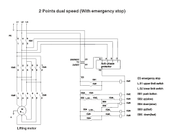 2 Points Dual Speed with Emergency Stop and Anti Phase Protector hoist wiring diagram wiring diagram on hoist wiring diagram 5 speed