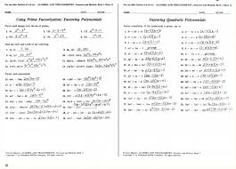 solving quadratic equations by factoring worksheet answers algebra