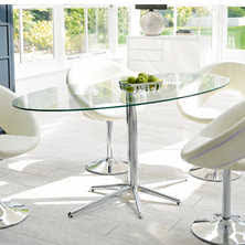 oval glass dining table. Stellar Base Glass Dining Table Clear Oval B