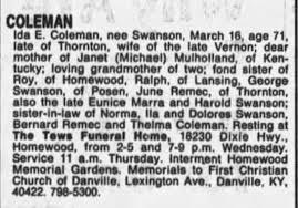 obit of Ida Swanson Coleman, Vernon's widow-17 Mar 1987, Tue, p30 -  Newspapers.com