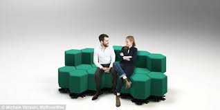 Strange shape changing furniture that can change from a sofa to