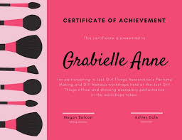 Making A Certificate Pink Makeup Achievement Certificate Templates By Canva