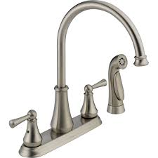 delta lewiston stainless 2 handle deck mount high arc kitchen faucet