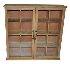 wood storage accent cabinet with glass doors in prepare 16