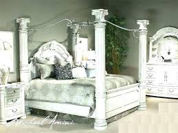 King Size Canopy King Size Canopy Bed Frame White Black Line Pattern ...