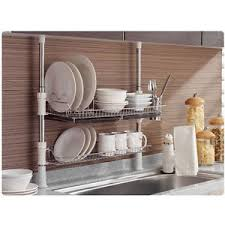 Image is loading Stainless-Fixing-Pole-2-Tiers-Dish-Drying-Rack-