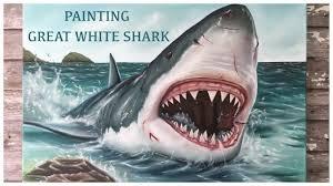 great white shark painting. Wonderful Great Great White Shark Painting And G
