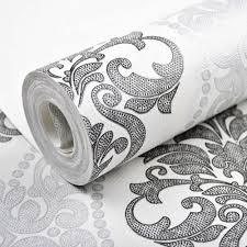 Us 350 Victoriaanse Zwart Zilver Wit Geweven Damast Behang Roll Moderne Vintage Glitter Behang Voor Slaapkamer Woondecoratie In Victoriaanse Zwart