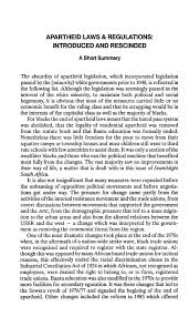 Apartheid Laws Regulations Introduced And Rescinded A Short Summary
