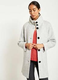 grey funnel neck textured coat