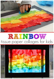 spring rainbow craft for kids simple tissue paper stained glass rainbow sun catchers toddlers and