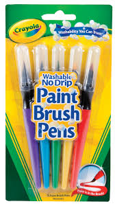 crayola no drip non toxic paint brush pen set assorted color set of 5 com