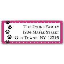 Printed Return Address Label Paw Prints Pink Return Address Labels