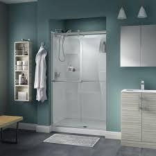delta lyndall 48 in x 71 in semi frameless contemporary sliding shower door