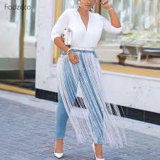 Jeans Dress Designs Fadeco Pants For Women African Outfits Tassel Jeans Elasticity 2019 New Designer Fashion Blue Dashiki Women Long Pant All Season