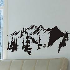 chinese style mountains trees wall art decal sticker removable traditional chinese painting vinyl wall stickers on vinyl wall art decals trees with chinese style mountains trees wall art decal sticker removable