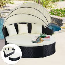 outdoor patio daybed. Costway Outdoor Patio Sofa Furniture Round Retractable Canopy Daybed Black Wicker Rattan - Walmart.com H