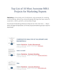 Top List Of 10 Most Awesome Mba Projects For Marketing