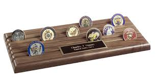 challenge coin rack shell casing 6 row coin display