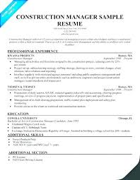 Sample Resume Construction Project Manager Client Project Manager Sample Resume Podarki Co