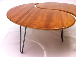 yin yang coffee table yin yang nesting large round coffee table mid century modern in your choice of caramelized or natural bamboo comes as a pair of two