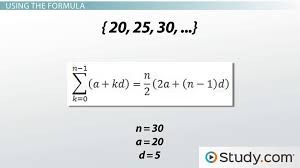 the sum of the first n terms of an arithmetic sequence lesson transcript study com