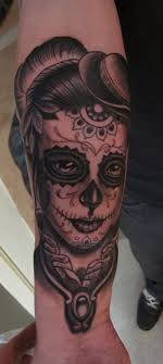 Black And Grey Mexican Girl Tattoo On Forearm
