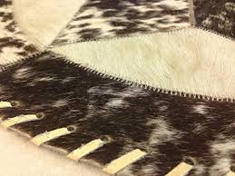 best er luxury round single star brown and white cowhide area rug